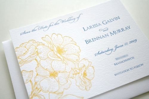 blue yellow vintage floral letterpress wedding save the dates 500x333 Blue + Yellow Vintage Rose Save the Dates