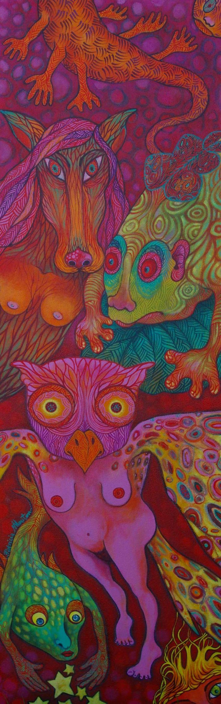 Acrylique et pastel gras sur toile 40/120cm. Bestiaire fantastique. Patricia Mouton.