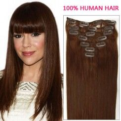 20 human hair extension 7pcs Straight #33 Rich Copper Red Clip In 70g