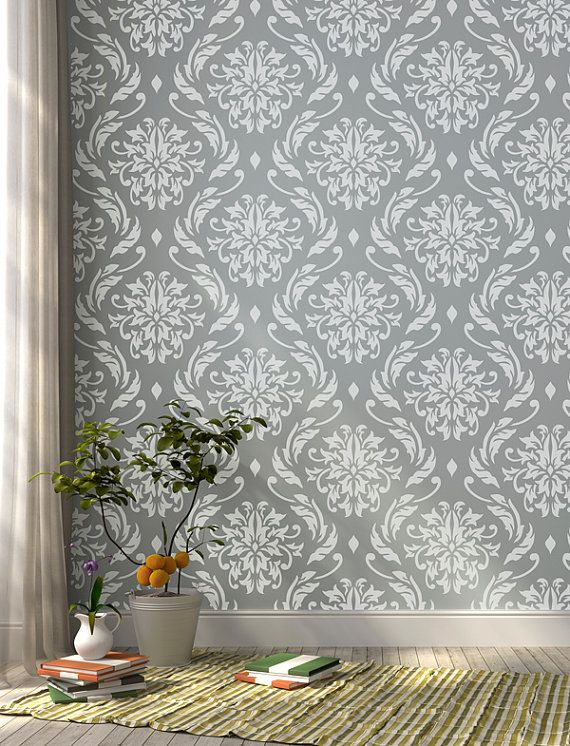 Lily Blooms Damask wall stencil for DIY projects by StenCilit