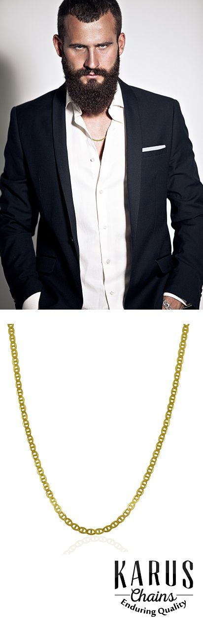 Gold chains for men don't always have to be about big bling. A chain should compliment your style, not overwhelm it. Like this classic 22 inch 14k gold mariner chain, yours for just $335 #goldchains, #goldchainsformen, #karuschains, #mensstyle