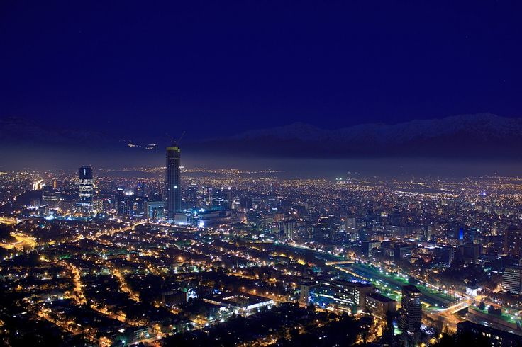 Santiago by night, Chile.