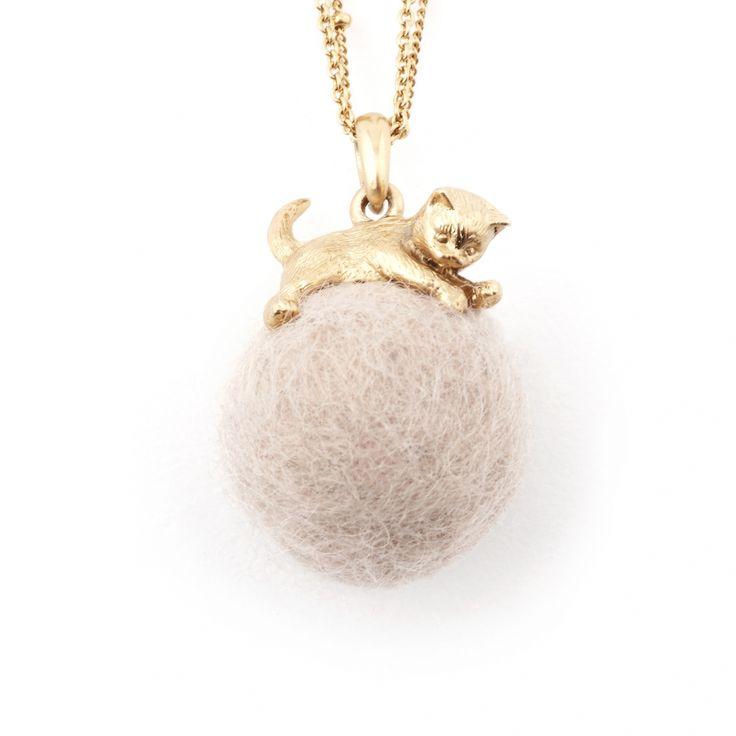 Kitten with Wool Ball Pendant (Cream) Gold