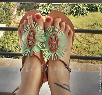 Обувь ручной работы. Ярмарка Мастеров - ручная работа. Купить Декорированные кожаные сандалии. Handmade. Бирюзовый, летняя обувь