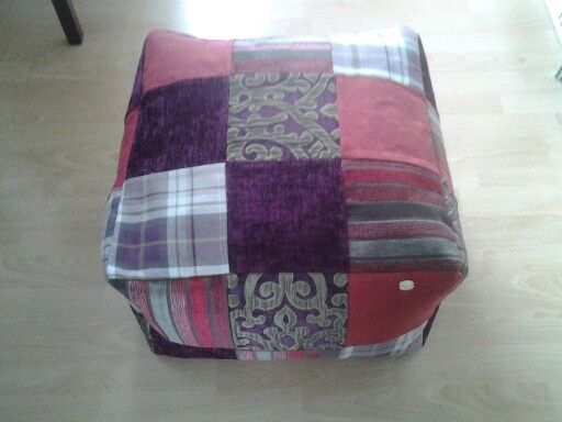 Large hand made patchwork pouffe