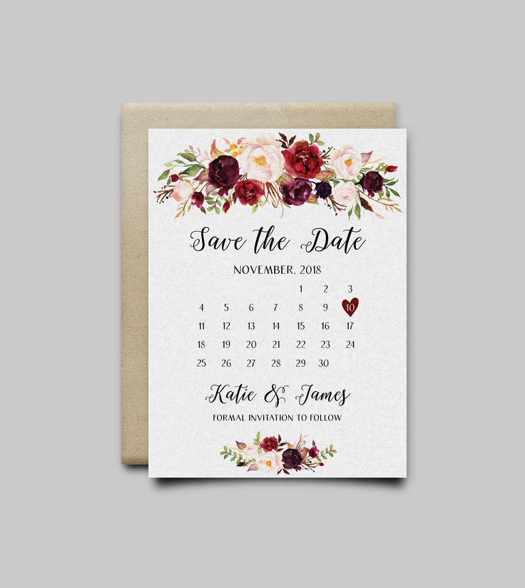 Burgundy Save The Date Card Boho Floral Printable Template Etsy Wedding Invitations Printable Templates Printable Wedding Invitations Save The Date Cards