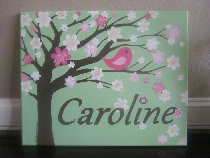 teal nursery | Nursery painting, personalized canvas for girl's room 16 x 20 - tree ...