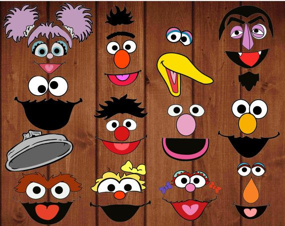 Sesame street digital cut-outs for pompoms by alafoliedesigns