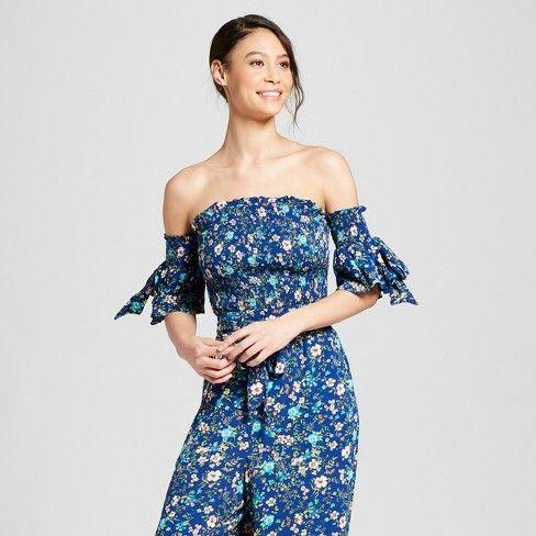 c09c98efa55 Women's Floral Print Off the Shoulder Smocked Crop Top - Xhilaration™  Lavender : Target