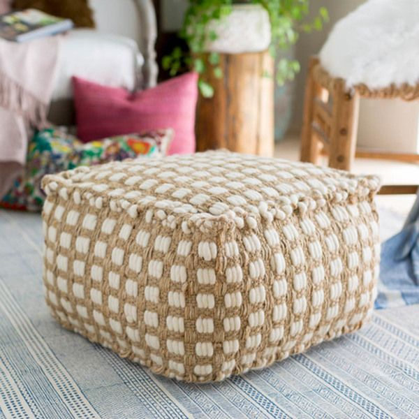 Buy Our Tan And White Pouf Online You Love Great Design And We Create Beautiful Products To Inspire Your Vision P S I Love It Cotton Pouf Pouf Pouf Ottoman