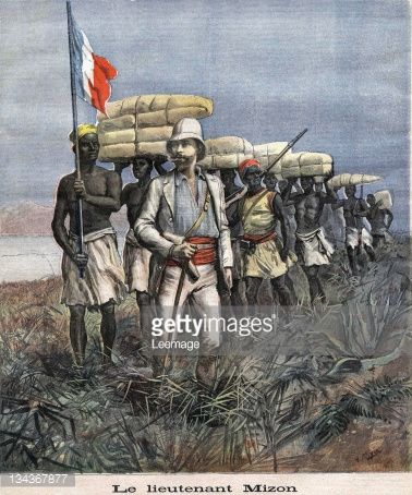 Lieutenant Mizon (1853-1899) on his mission of exploration in Nigeria. Illustration from French newspaper Le petit journal. July 9, 1892