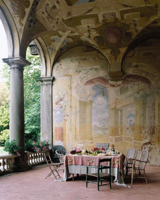 In Lucca, Italy, the loggia of the grand Villa Torrigiani boasts 17th-century frescoes.