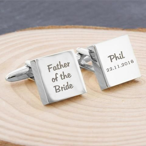 Father of the Bride Gifts - Personalised Wedding Role Cufflinks