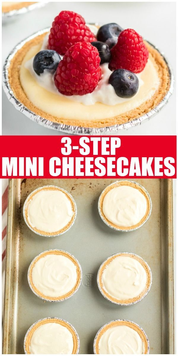 3 Step Mini Cheesecakes Are Simple Quick Delicious And Great For Serving At A Party Each Mi Mini Cheesecakes Mini Cheesecake Recipes Easy Cheesecake Recipes
