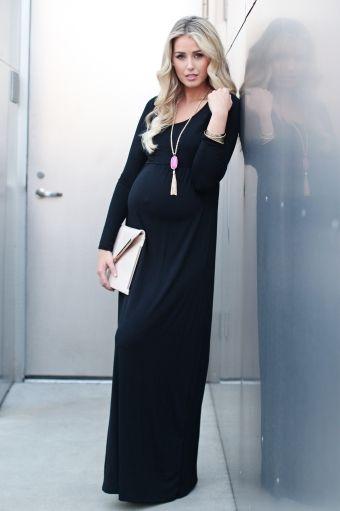 Black Long Sleeve Basic Maternity Maxi Dress