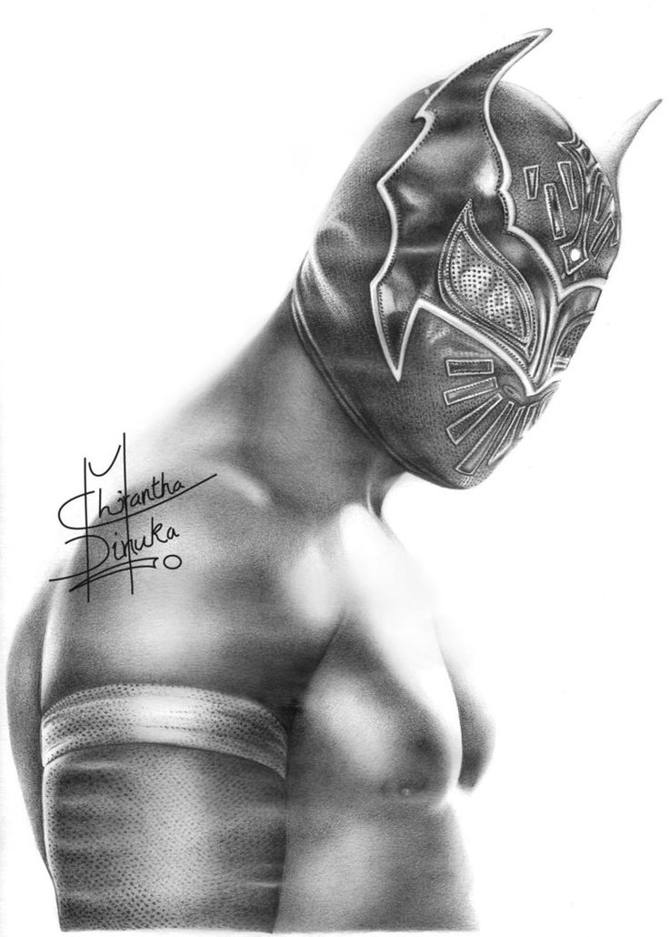 WWE Sin Cara Pencil Drawing by Chirantha