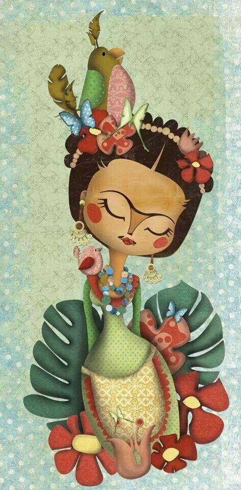 Frida Kahlo, ilustración de Elena Catalán (Kipuruki) Frida Kahlo, illustration by Elena Catalán (Kipuruki)