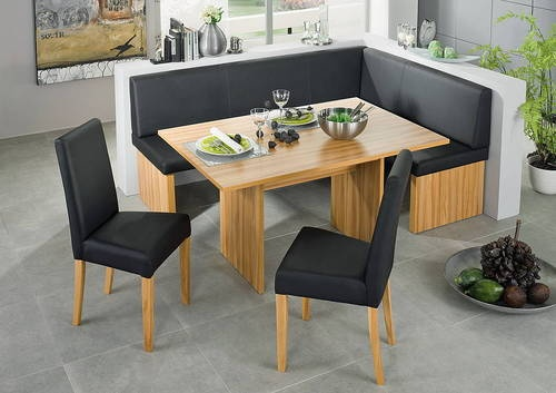 Corinna white black leather dining set kitchen booth for Corner dining table