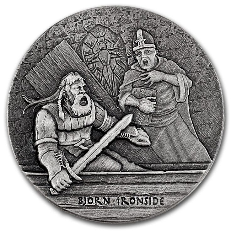 """2016 Niue 2 Ounce Bjorn Ironside """"The Viking Warrior"""" High Relief Silver Coin Set"""