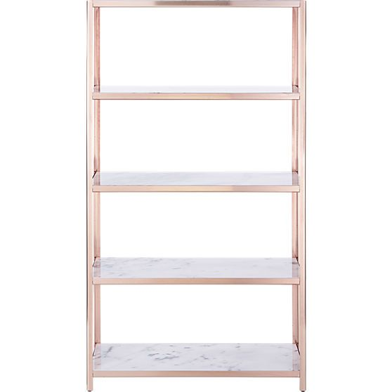 rose gold and marble bookcase