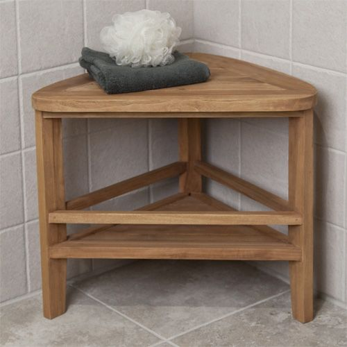 Teak Wood Corner Shower Stool