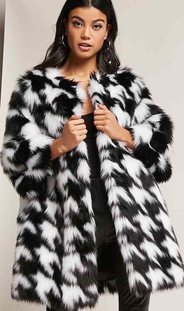 H M Faux Fur Coat Black White Cropped Sleeves Size L Nwt Hm