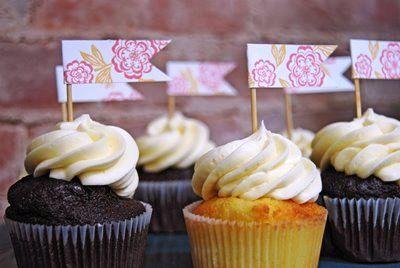 Letterpress Designer Cupcake Flags «