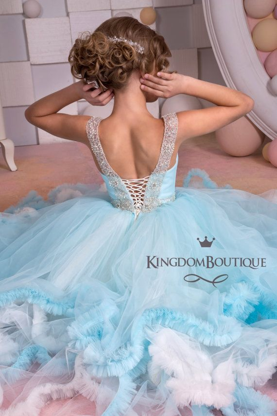 Light Blue and Ivory Tulle Flower Girl Dress от KingdomBoutiqueUA