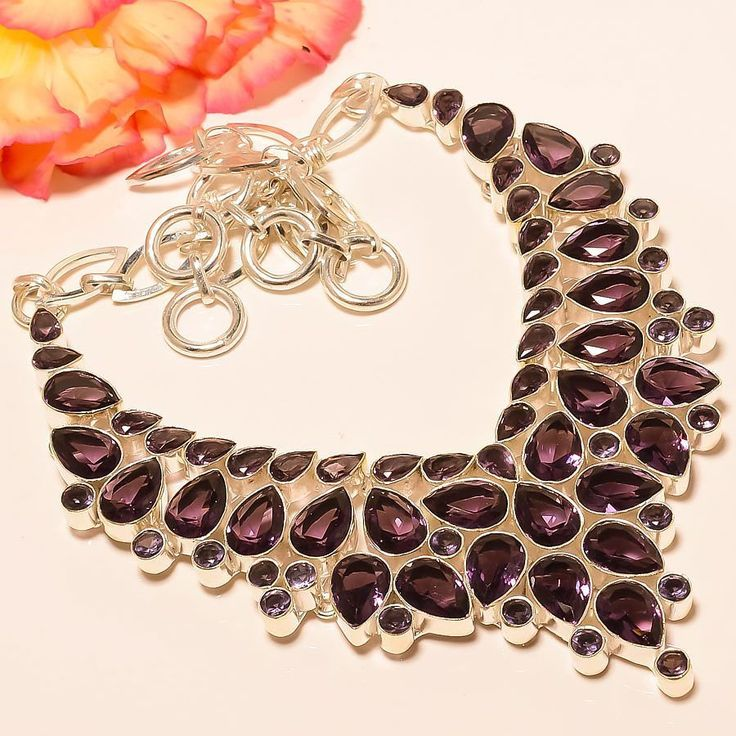 "Designer African Amethyst 925 Sterling Silver Jewelry Necklace 18"" #Handmade #Choker"