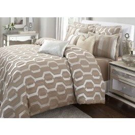 Aico furniture como taupe honeycomb 10 pc king bedding for Bedroom furniture 77584