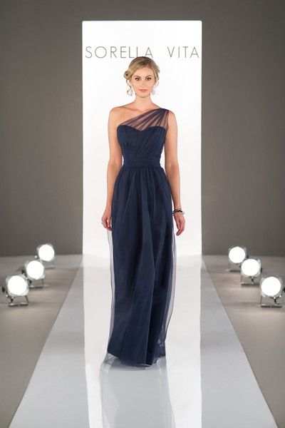 Navy blue one shoulder bridesmaid dress with tulle illusion-sweetheart neckline, floor-length tulle skirt highlighted with a ruched-tulle belt that cinches the waist {Dress by Sorella Vita by @essensedesigns}