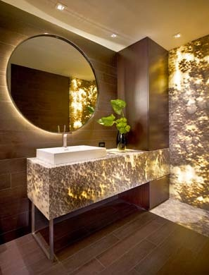 "Okay, this is a large example, but imagine just the 18"" high x ~4.5' backsplash on the bar cabinetry. Backlit Onyx Bathroom"