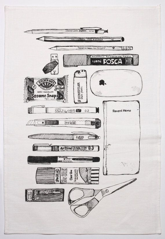 Tea towel  assorted stationery - illustration by Maria Smit, $18.00