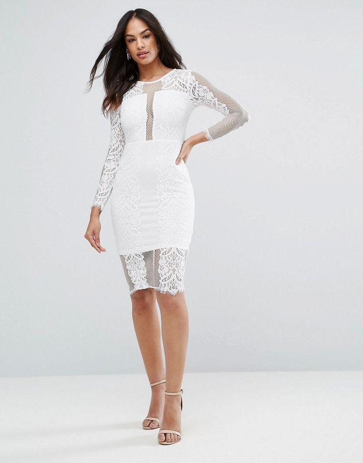 Ax Paris Cream Long Sleeve Lace Midi Dress - Cream