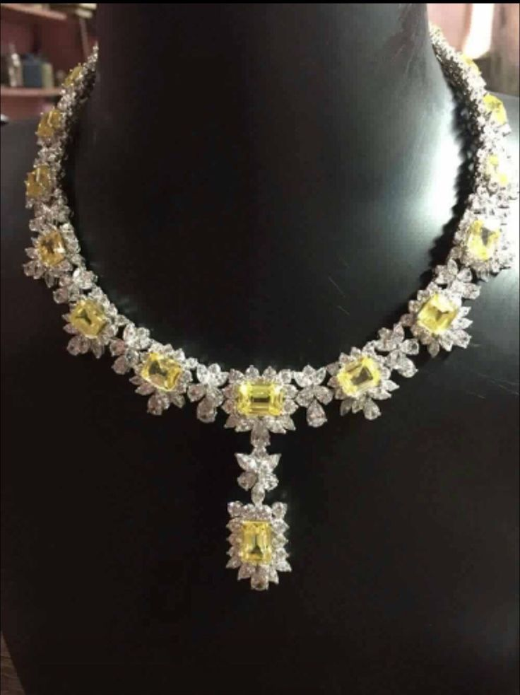Emerald cut Yellow  AAAAA grade cubic zirconia statement necklace 925 sterling silver by IsaBellaJewellery on Etsy