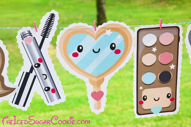 Makeup Birthday Party DIY Banner Ideas-Powder, Lipstick, Powder, Mascara, Makeup…
