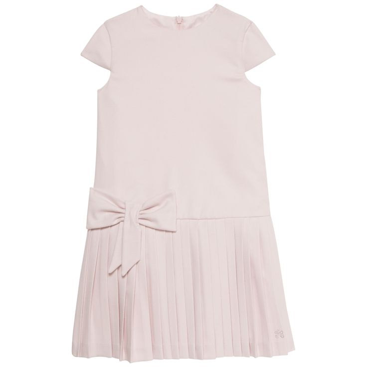 Short sleeves light pink dress in flannel with a large bow  #outfit #FW15 #fall #winter #kidsfashion #pink #dress #bow