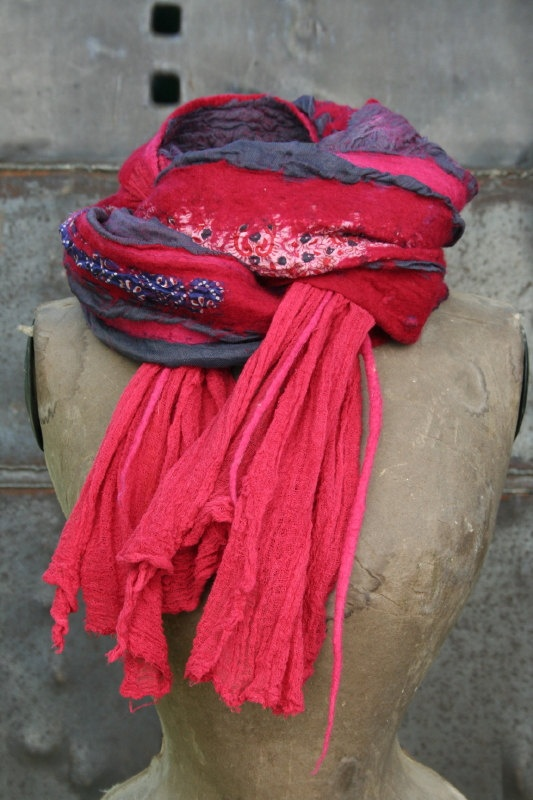 Cochenille-dyed Felted Scarf