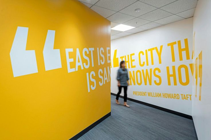 Graphic and visual communication in the office. Environmental graphics.
