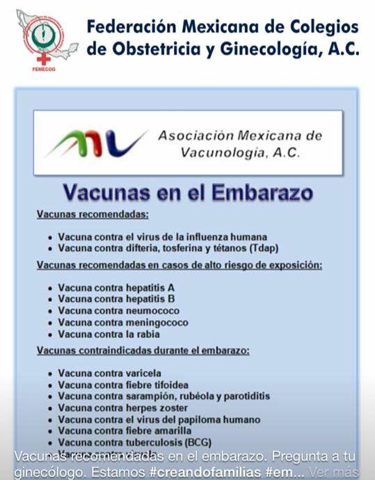 Esquema de Vacunación previsto para el embarazo en México
