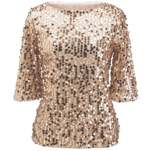 Women Sequin Sparkle Glitter Tank Coctail Party Tops Shining T-Shirt... (2.115 HUF) ❤ liked on Polyvore featuring tops, blouses, sequin blouse, sparkly tops, glitter blouse, holiday party blouses and sparkly blouse