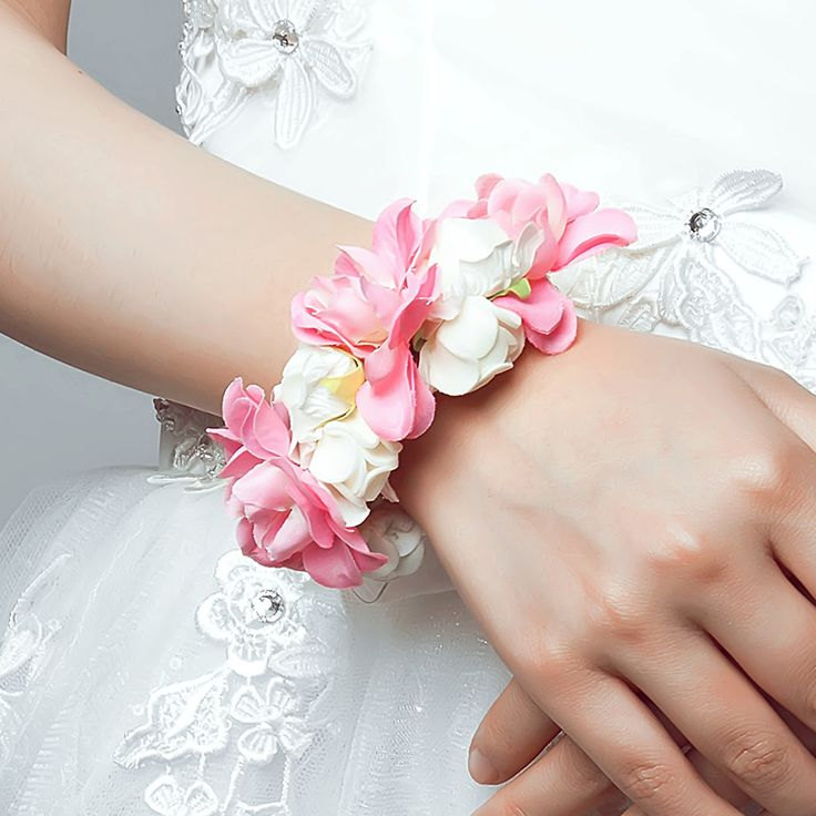 Pink Korean Bride Bridesmaid hand wrist jewelry Wedding or Prom Bracelet Silk Rose Bouquet for Bride Decorative flowers& wreath