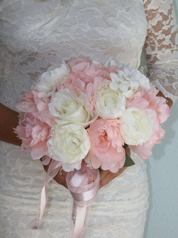 Very Cute Wedding Bridal Bouquet Silk Flowers Peony Roses Bridal