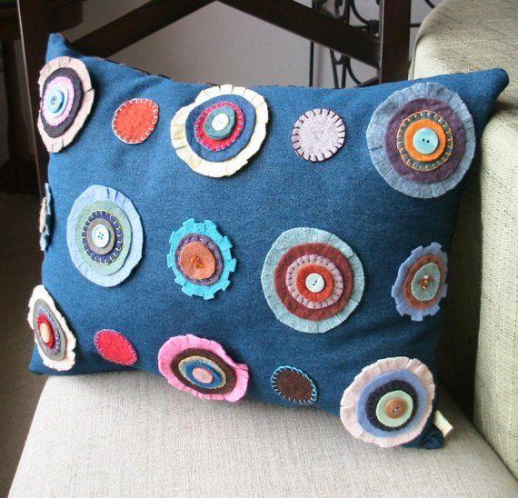 Denim + felt cushion