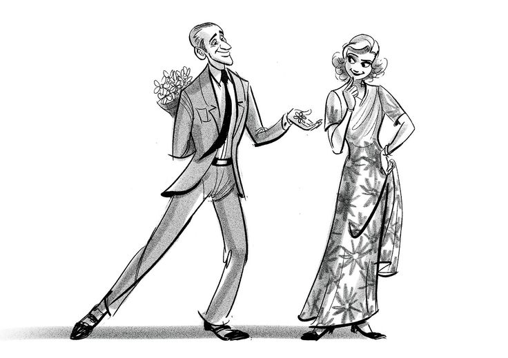 Fred Astaire and Ginger Rogers (Gown is from 'Shall We Dance') / by ncdoodles (formerly scribbledigooks) #artwork #popculture #fredastaire #gingerrogers