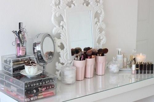Vanity girly room pink decor makeup white mirror dresser