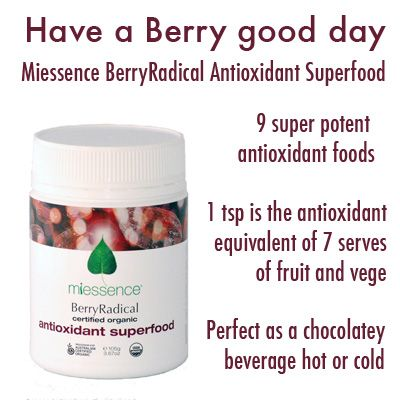 Miessence Certified Organic BerryRadical Antioxidant Superfood. Nine freeze dried superfoods provide 4000 ORACs per teaspoon.