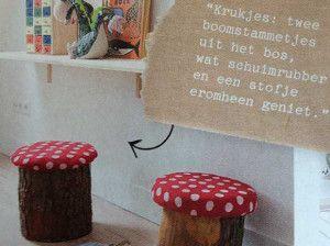woondecoratie & meubels - boomstammetje als krukje
