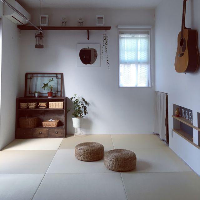 Rinさんの、部屋全体,和室,みせる収納,パキラ,ティッシュカバー,琉球畳,上げ下げ窓,自然塗料,足場板DIY,いいね&フォローありがとうございます♡,あとでゆっくりお返事回りますね♡,のお部屋写真