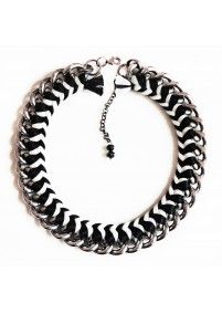 FIRE DE MURG SILVER NECKLACE WITH SIMPLE BRAID BLACK-WHITE http://bit.ly/ZwJ9Jb wearitwithlove.com | Contemporary Fashion. Young Designers